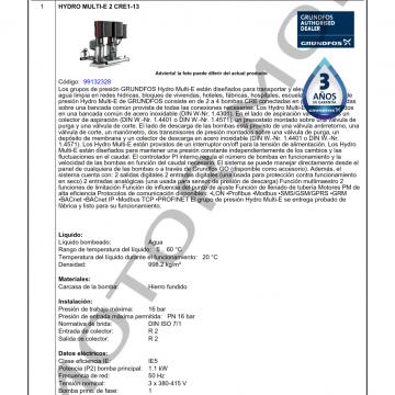 GRUNDFOS HYDRO MULTI-E CRE1-13 ARTICULO 99132328 MOTOR MOB_001