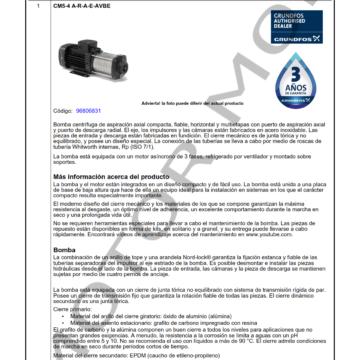 GRUNDFOS CM5-4 ARTICULO 96806831 MOTOR MOB_001