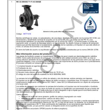GRUNDFOS NK 32-250 ARTICULO 96771418 MOTOR MOB_001