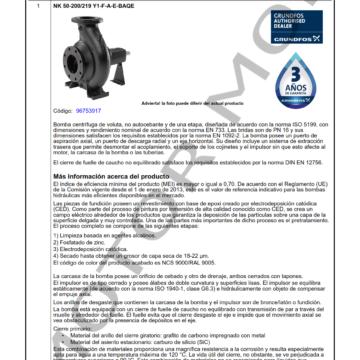 GRUNDFOS NK 50-200 ARTICULO 96753917 MOTOR MOB_001