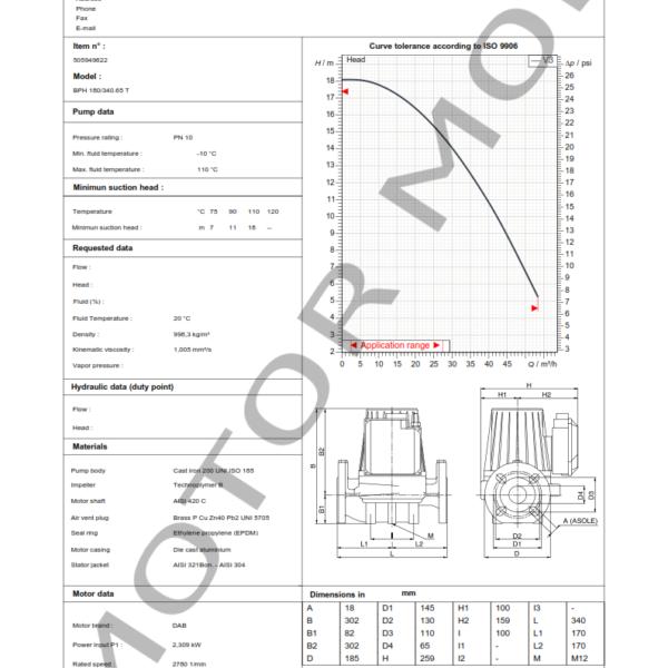 BOMBA DAB BPH 180 – 340.65 T – Circuladora – Trifasica – Art 505949622_001