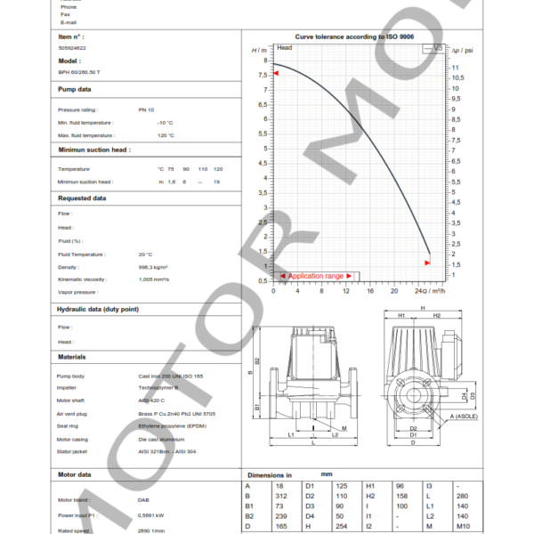BOMBA DAB BPH 60 – 280.50 T – Circuladora – Trifasica – Art 505924622_001